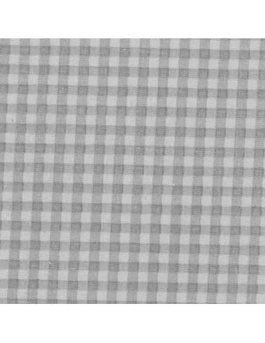 Tissu en coton léger Vichy Taupe-Craie