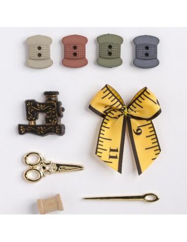 Assortiment de 9 boutons décoratifs - Collection On s'amuse - Univers couture