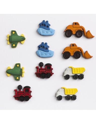 Assortiment de 10 boutons décoratifs - Collection Cour d'école - Petits véhicules