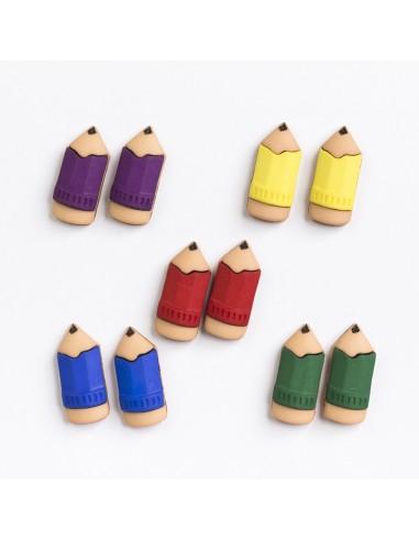 Assortiment de 10 boutons décoratifs - Collection Cour d'école - Crayons