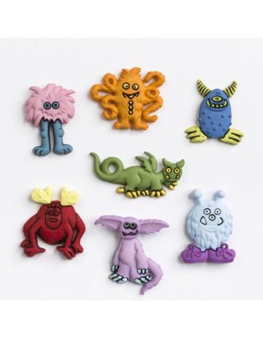 Assortiment de 7 boutons décoratifs - Collection Cour d'école - Les monstres