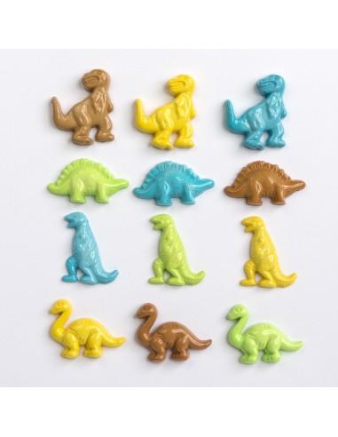 Assortiment de 12 boutons décoratifs - Collection Cour d'école - Dinosaures