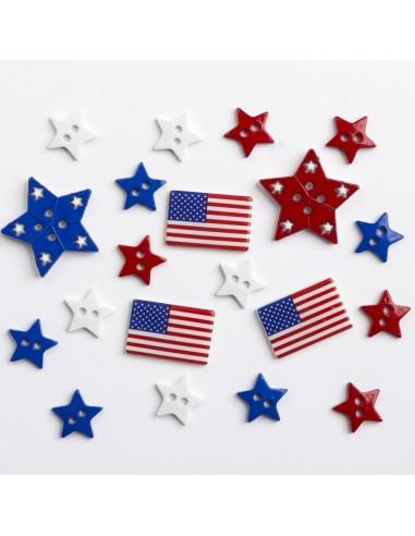 Assortiment de 20 boutons décoratifs - Collection Tour du monde - USA