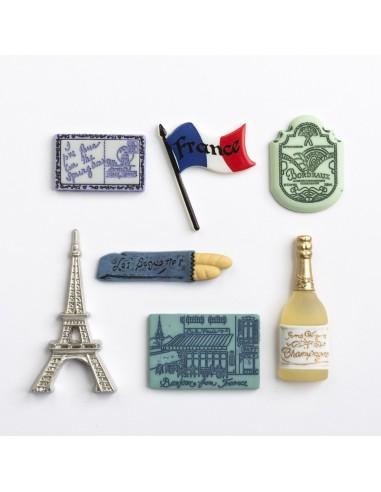 Assortiment de 7 boutons décoratifs - Collection Tour du monde - La France