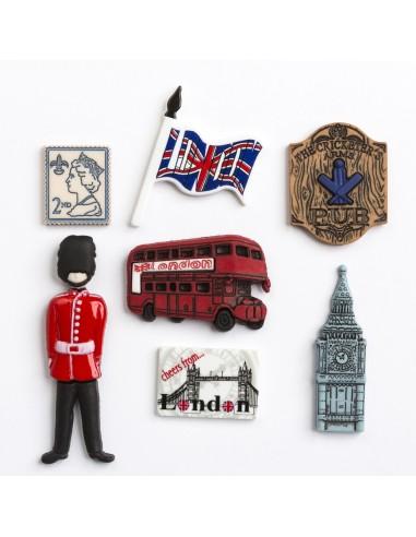 Assortiment de 7 boutons décoratifs - Collection Tour du monde - L'Angleterre