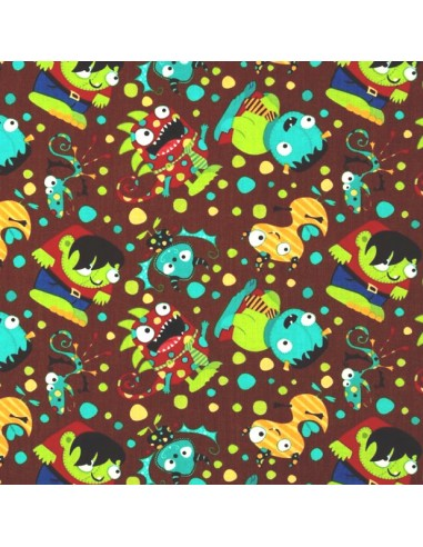Tissu en coton Collection Monster Mash  - Party Monsters - Brown