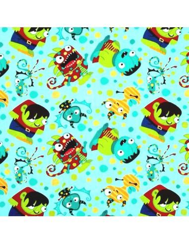 Tissu en coton Collection Monster Mash  - Party Monsters - Blue