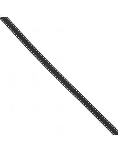 Galon Surpiqué 10mm Noir à tirets Blancs