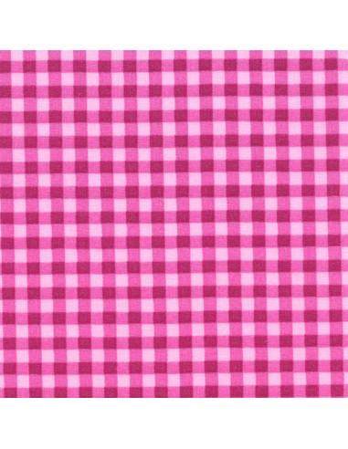 Tissu en coton léger Vichy Fushia-Dragée