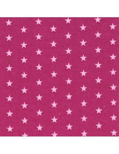 Tissu en coton léger coloris Fushia à étoiles Dragée