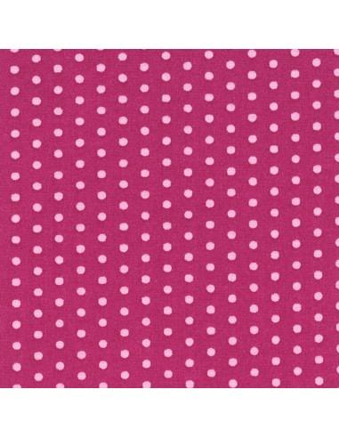 Tissu en coton léger coloris Fushia à pois Dragée