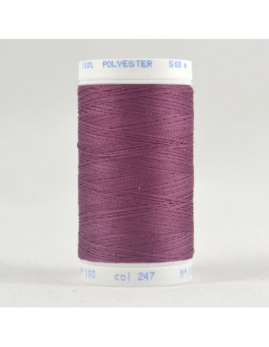 Bobine de 500m de fil à coudre Polyester Mauve