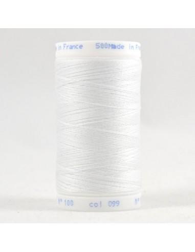 Bobine de 500m de fil à coudre Polyester Blanc neige