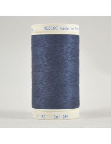 Bobine de 445m de fil à coudre Coton Bleu minéral