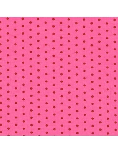 Tissu en coton léger coloris Pivoine à pois Cerise