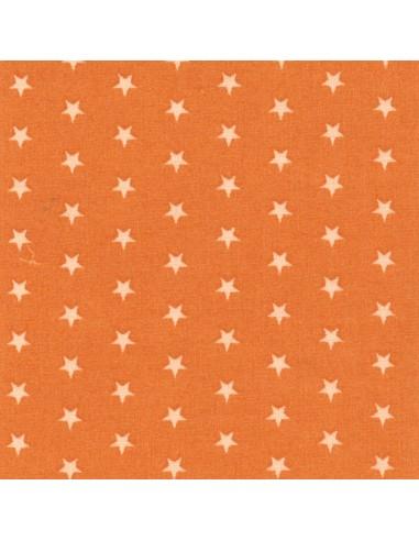 Tissu en coton léger coloris Mandarine à étoiles Chair