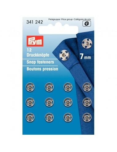 Boutons pressions 7mm Argent - 12 pièces