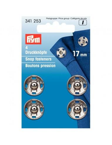 Boutons pressions 17mm Argent - 4 pièces