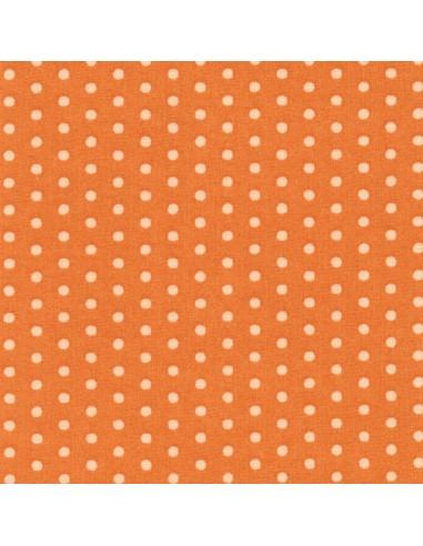 Tissu en coton léger coloris Mandarine à pois Chair