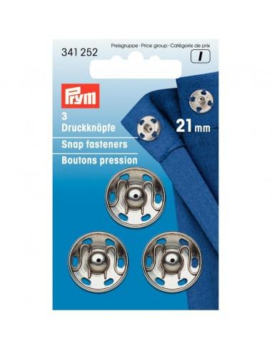 Boutons pressions 21mm Argent - 3 pièces