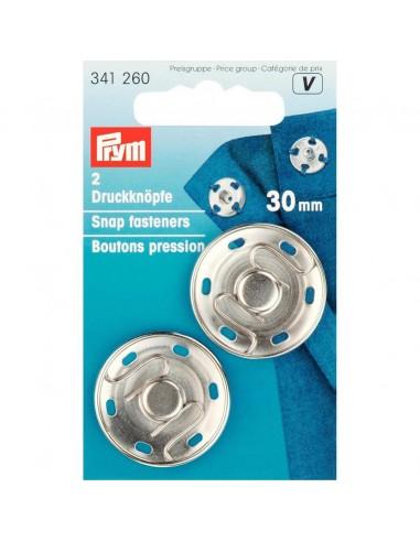 Boutons pressions 30mm Argent - 3 pièces