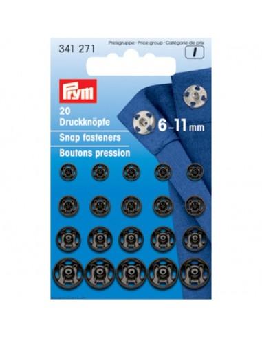 Assortiment boutons pressions 6-11mm Noir