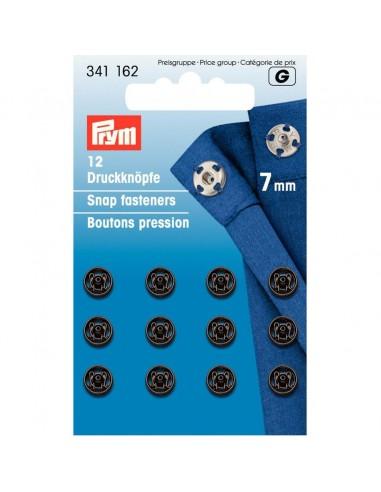 Boutons pressions 7mm Noir - 12 pièces