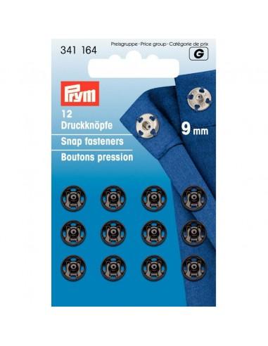 Boutons pressions 9mm Noir - 12 pièces