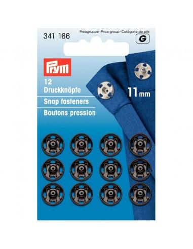 Boutons pressions 11mm Noir - 12 pièces