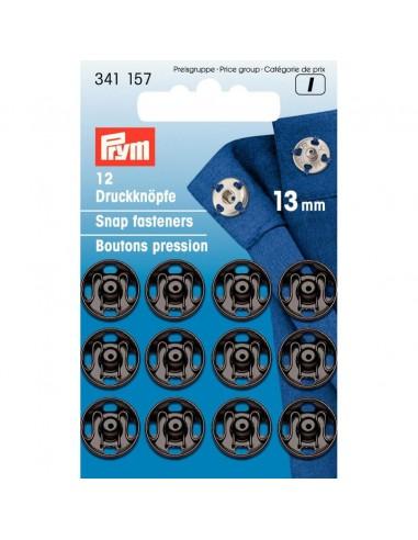 Boutons pressions 13mm Noir - 12 pièces