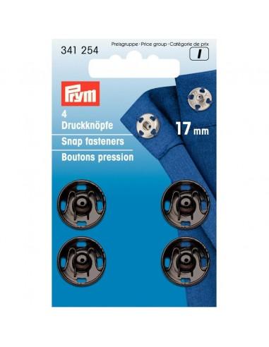 Boutons pressions 17mm Noir - 4 pièces