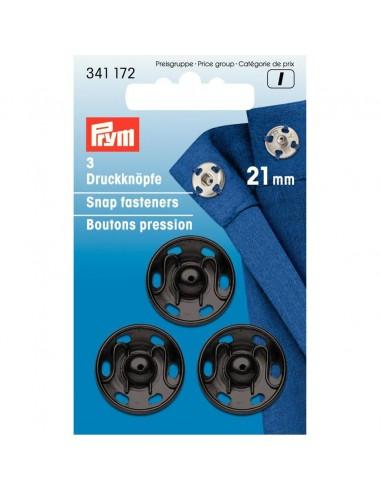 Boutons pressions 21mm Noir - 3 pièces