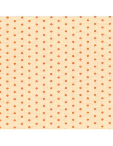 Tissu en coton léger à coloris Chair à pois Mandarine