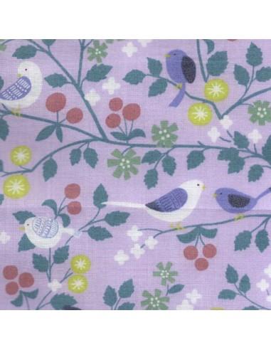 Tissu en coton léger Collection Les oiseaux Parme 114