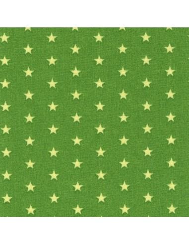 Tissu en coton léger coloris Prairie à étoiles Anis