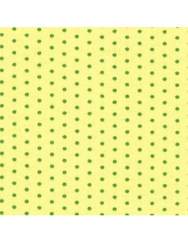 Tissu en coton léger coloris Anis à pois Prairie