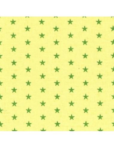 Tissu en coton léger coloris Anis à étoiles Prairie