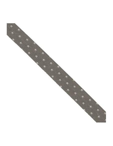 Biais coton 20mm Taupe à Etoiles Craie