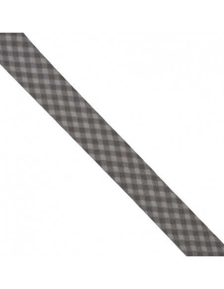 Biais coton 20mm Vichy Craie-Taupe