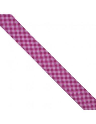 Biais coton 20mm Vichy Dragée-Fushia