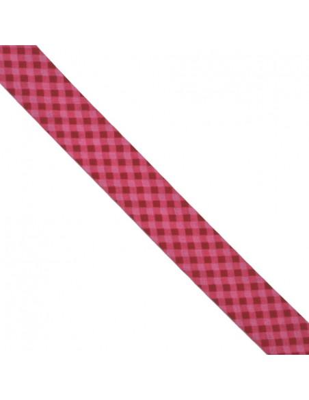 Biais coton 20mm Vichy Pivoine-Cerise