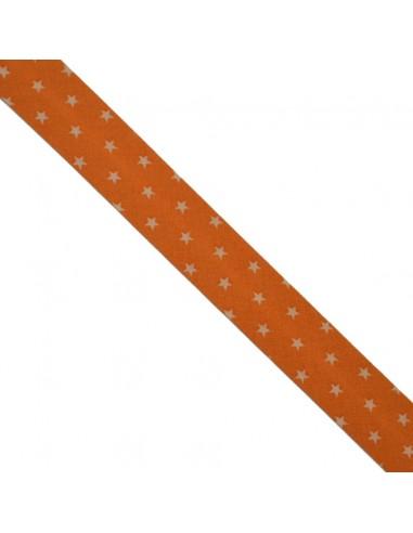 Biais coton 20mm Mandarine à Etoiles Chair