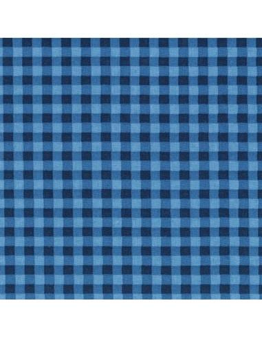 Tissu en coton léger Vichy Azur-Marine