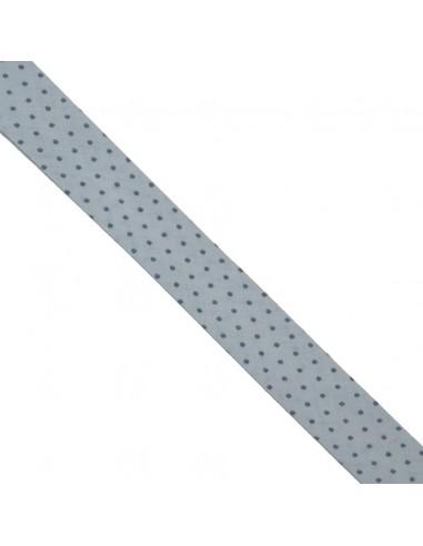 Biais coton 20mm Ciel à Pois Marine