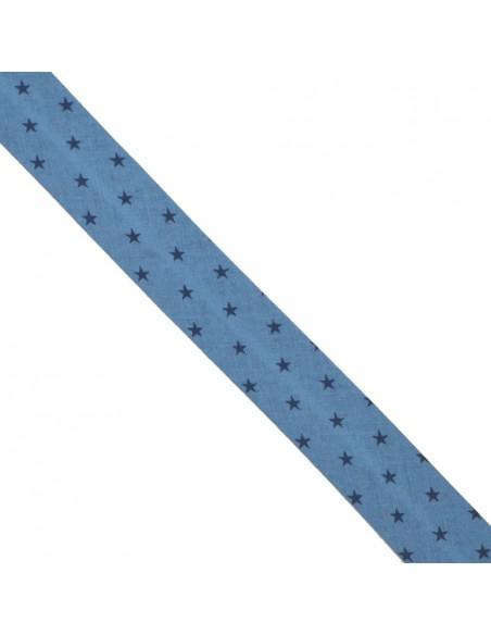 Biais coton 20mm Azur à Etoiles Marine