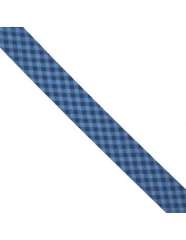 Biais coton 20mm Vichy Azur-Marine