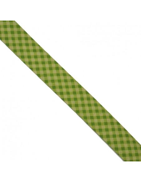 Biais coton 20mm Vichy Anis-Prairie
