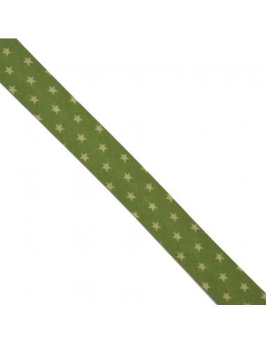 Biais coton 20mm Prairie à Etoiles Anis