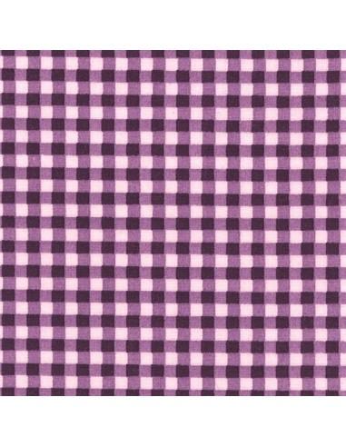 Tissu en coton léger Vichy Rose perle - Aubergine