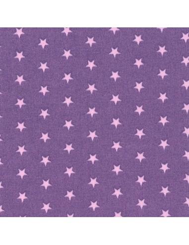 Tissu en coton léger coloris Pervenche à étoiles Dragée